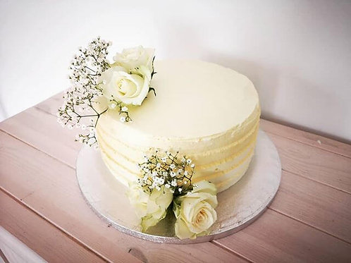 White Buttercream Cake with Seasonal White Flowers 10""