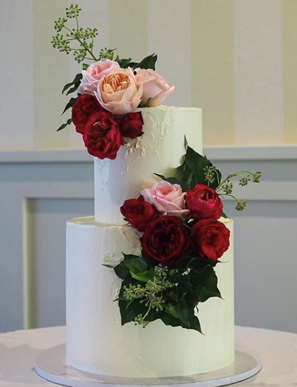 Ruby Roses on a Wedding Cake
