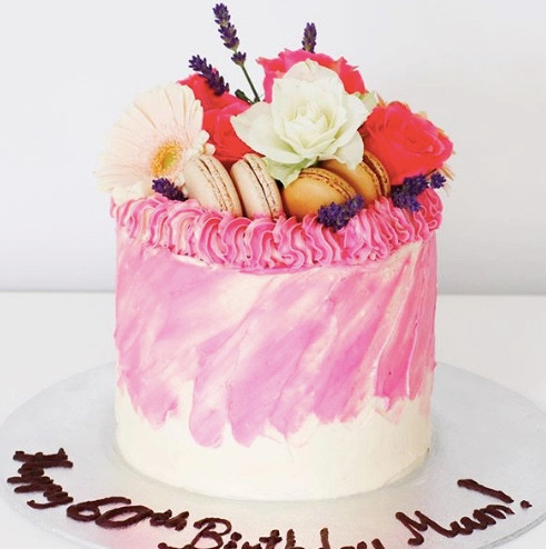 most popular birthday cakes in dublin vanilla cake white and pink strokes