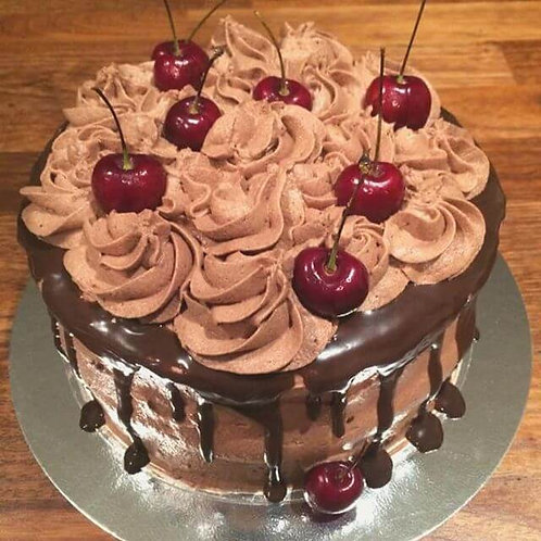 """Chocolate Cake Decorated with Chocolate Buttercream and Cherries, 8"""""""
