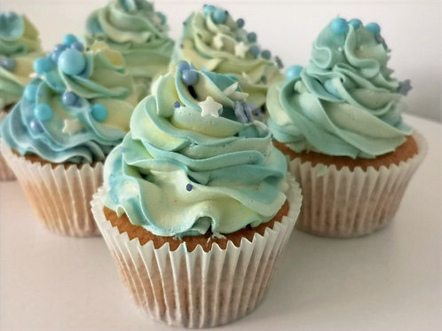 Baby Blue Cupcakes for Baby Shower x12