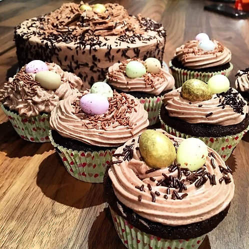 Easter Themes Chocolate Cupcakes, box of 12