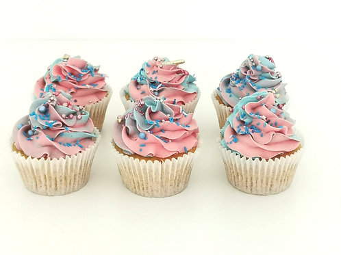 Pink And Blue Swirl Gender Reveal Cupcake