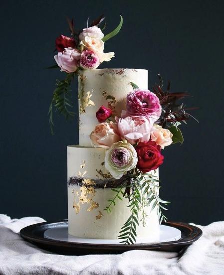 Rustic Floral Wedding Cake