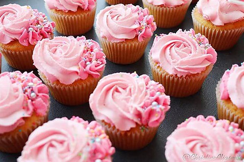 Vanilla Cupcakes with Pink Buttercream, box of 6