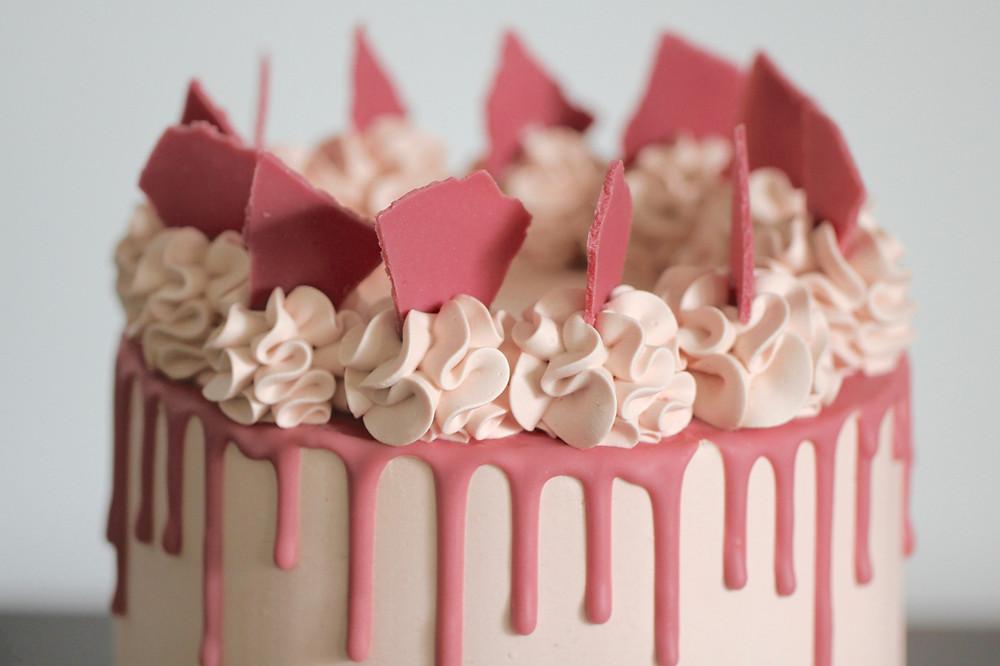 Ruby Chocolate Ganache Cake