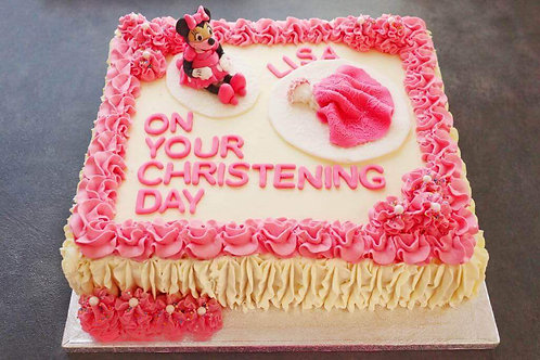 Pink Minnie Mouse Christening Cake