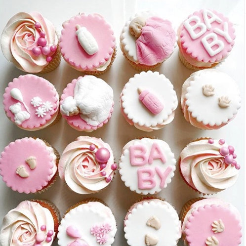 Baby Shower Cupcakes Pink, Blue or Yellow x12
