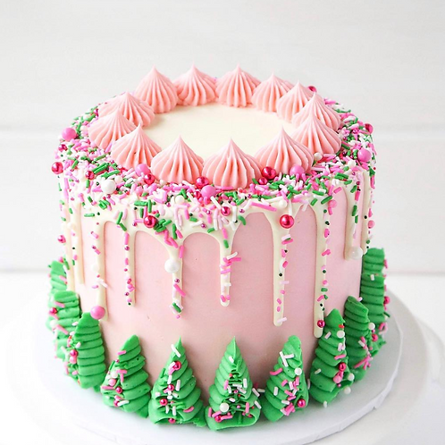 christmas cake in Dublin with pink and green decorations