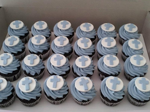 Christening Cupcakes in Blue