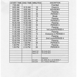 Change in Schedule for August 3 & 4th