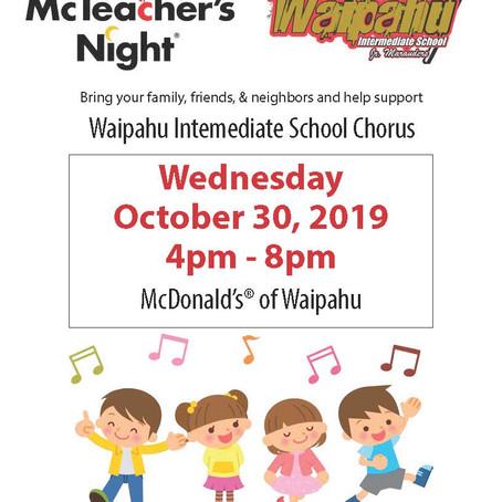 Chorus Fundraiser-McTeacher's Night