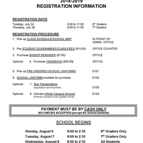 2018 Registration Pick Up Information