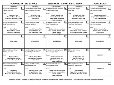 March Meal Menu