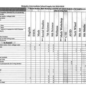 SY 2018-2019 School Supply List
