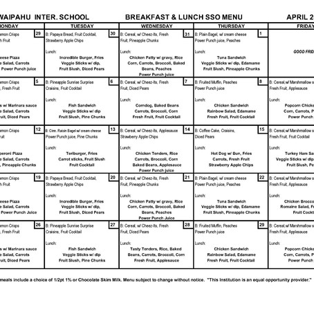 April Meal Menu
