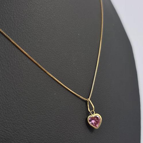 Conjunto Veneziana Com Pingente Coração Rosa 60cm
