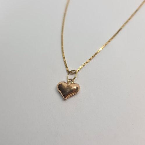 Conjunto Veneziana Coração Ouro Rosia