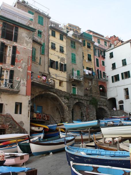 Riomaggiore from docking bay, Cinque Terra, Italy