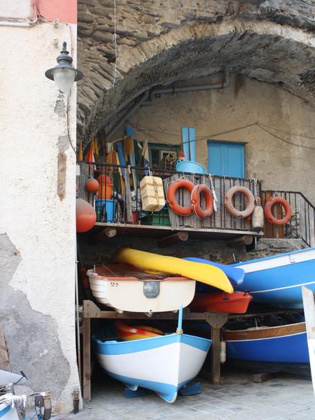 Boats in Riomaggiore, Cinque Terrre, Italy