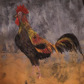 """""""Rooster"""" part of backdrop for Nativity Scene, St. Mary's R.C. Primary School, Richmond, England"""