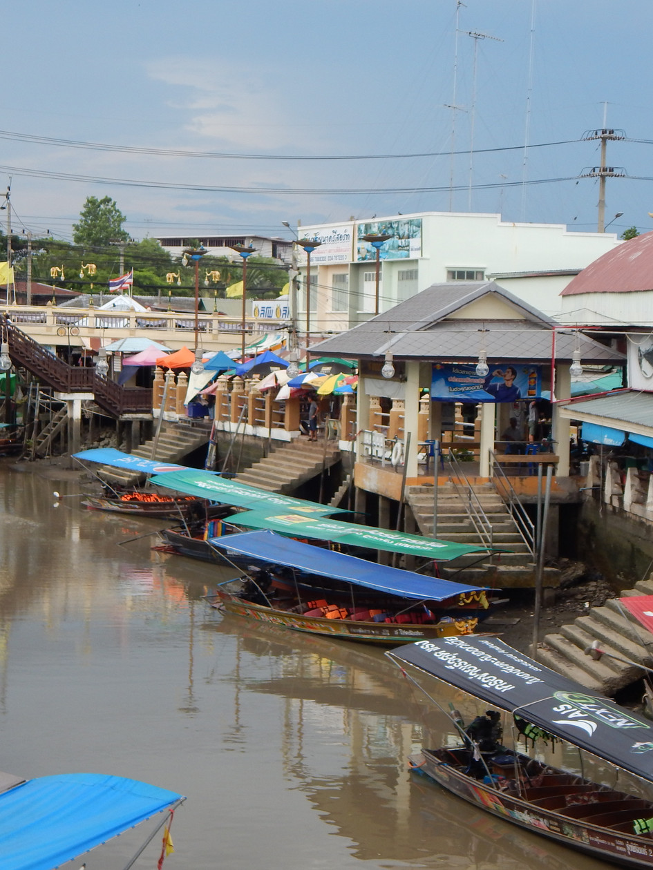 Floating Market from the Bridge, Thailand