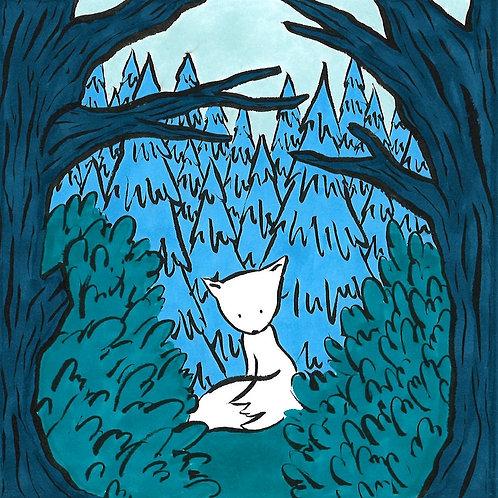 """Carte pliée """"Le Renard Bleu"""""""