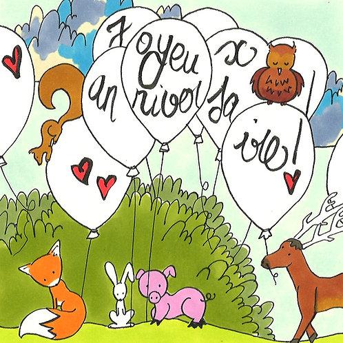 """Carte pliée """"Joyeux Anniversaire""""Ballons"""