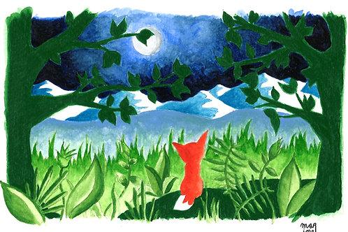"Carte Postale ""Le Renard rouge"""