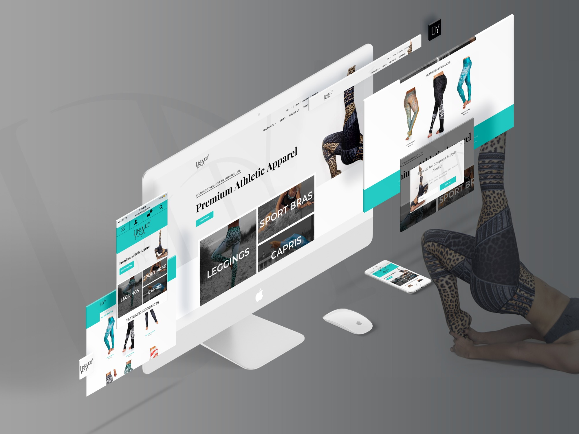 website mockup - Uniquely Yoga