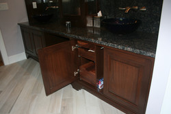 Walnut vanity pullout drawers