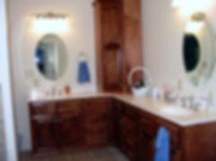 Corner vanity with two sinks