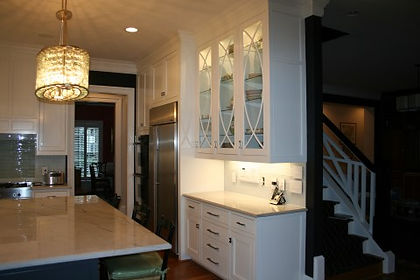 white maple kitchen cabinets with inset doors and beaded face frame located in Raleigh NC