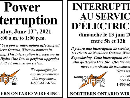 Update:Power Interruption / Interruption au service d'électricité Kapuskasing and/et Iroquois Falls