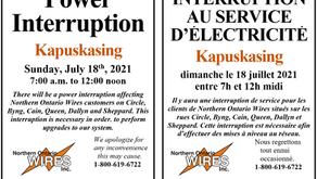 Power Interruption / Interruption au service d'électricité Kapuskasing