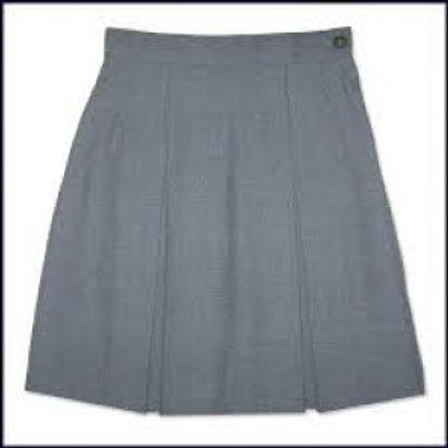 Grey Kick Pleat Skirt