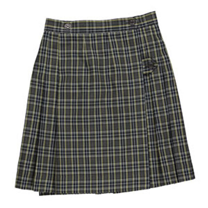 Navy Plaid Wrap Around Skirt
