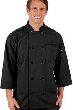 4015  Short Sleeve Black Chef Coat