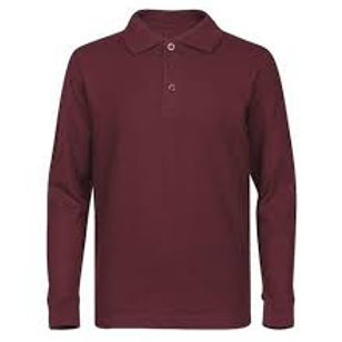 Long Sleeve Burgundy Polo