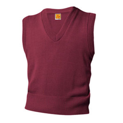 Burgundy Vest Sweater with Logo