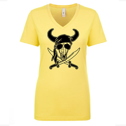 """Wally Roger"" Women's V-Neck T Yellow"