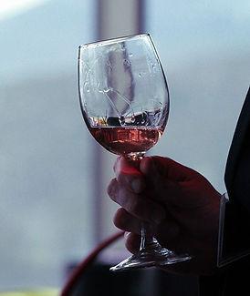 Copa de vino tinto argentino en la mano, degustación de vinos.