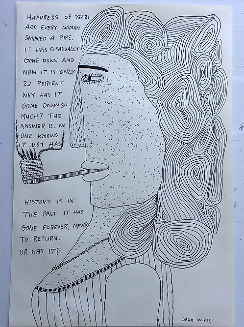 Original art drawing. John McKie 2019 Outsider Art. Pen on paper.