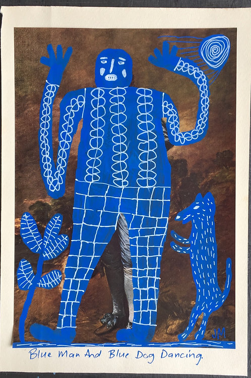 Blue man and blue dog dancing. 10.2 x 7 inches.