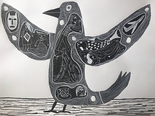 Bird Just About To Fly. 22.5 x 16.5 inches.