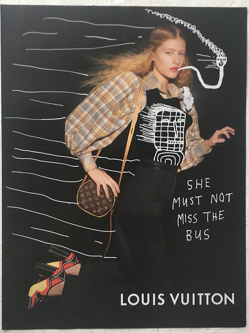 She must not miss the bus. 11.75 x 9 inches.