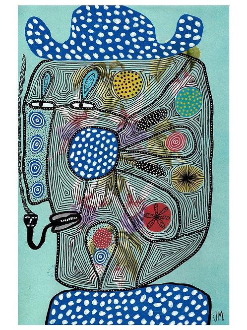 Spotty Hat.  A3 Giclee Print.