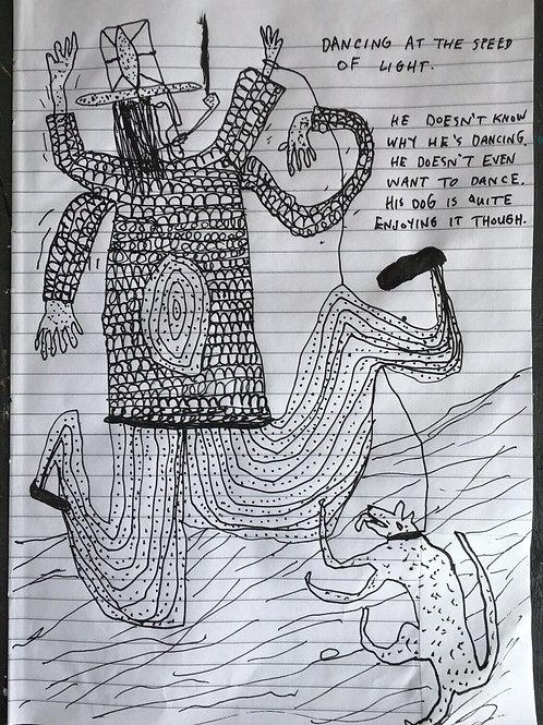 Original art drawing. John McKie 2019 Paint Pen On Paper Signed