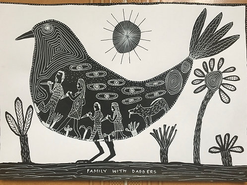 Family With Daggers. 16.5 x 11.75 inches.