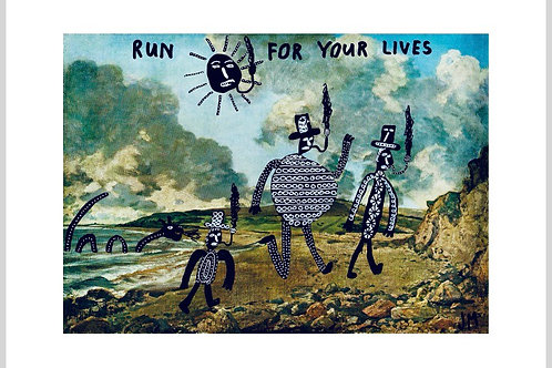 Run For Your Lives.  A3 Giclee Print.